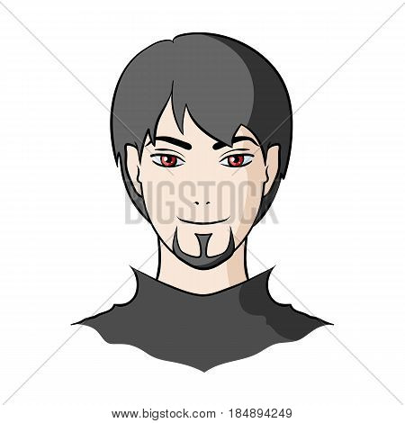 Avatar of a man with red eyes .Avatar and face single icon in cartoon style