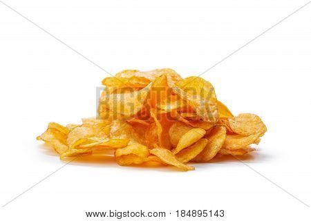 Potato chips isolated on white background. close up.
