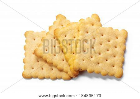 Cracker cookies isolated on white background .