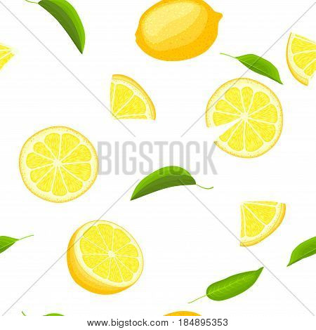 Ripe juicy tropical lemon background. Vector card illustration. Fresh citrus yellow lime fruit peeled, piece of half, slice, leaf. Seamless pattern for packaging design healthy food diet juce, detox, tea