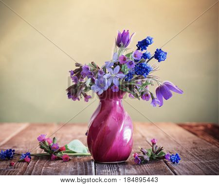 the beautiful still life with spring flowers