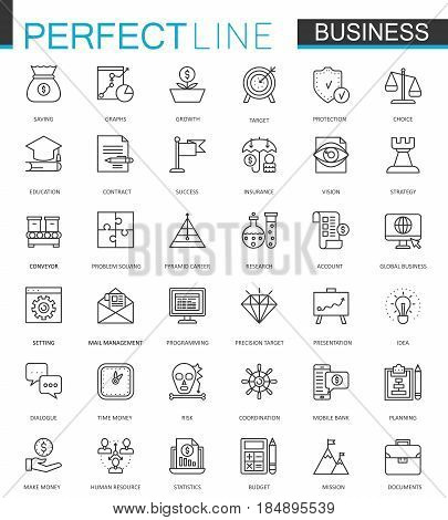 Business thin line web icons set. Outline stroke icon design