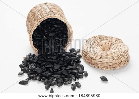 Sunflower Seeds Scattered On A White Background,