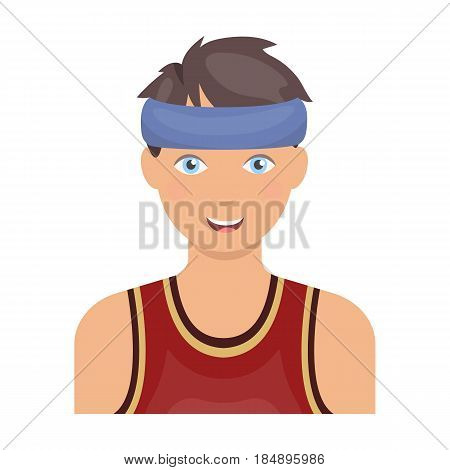 Young basketball player. Basketball single icon in cartoon style
