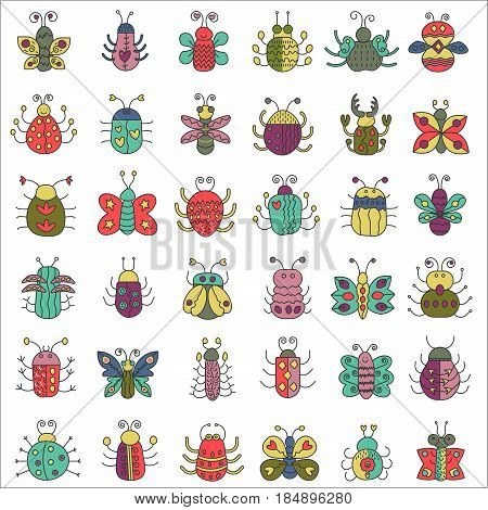 Color flat line insects icons set. Butterfly, bugs collection