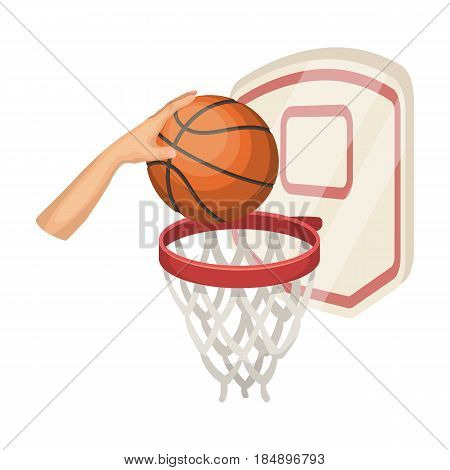 Hand with a ball near the basket. Basketball single icon in cartoon style