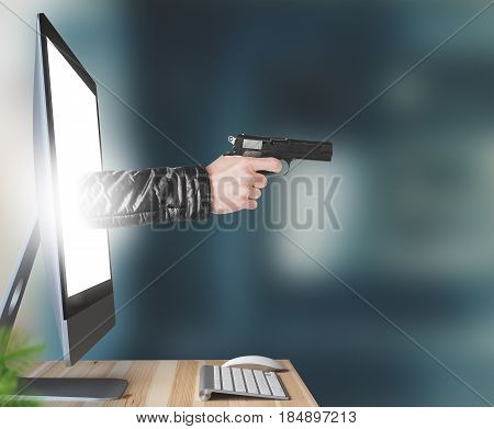 Hand with gun comes out of computer, 3d illustration render