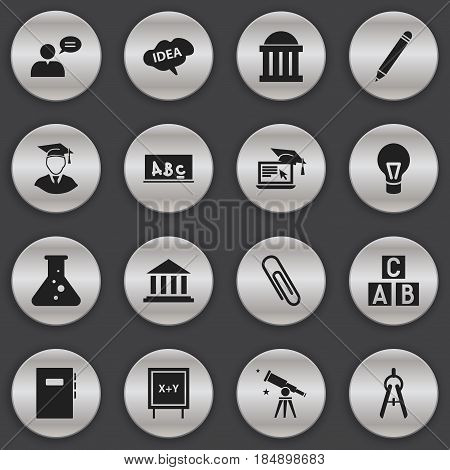 Set Of 16 Editable School Icons. Includes Symbols Such As Chemistry, Math Tool, Pencil And More. Can Be Used For Web, Mobile, UI And Infographic Design.
