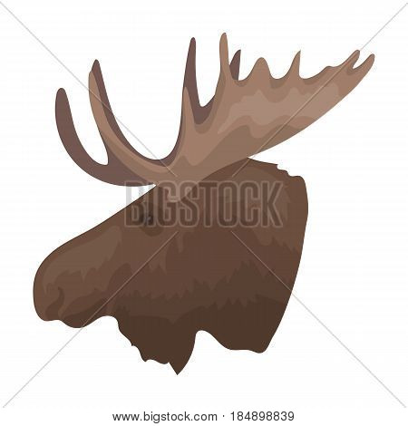 Head of an elk with horns. Canada single icon in cartoon style