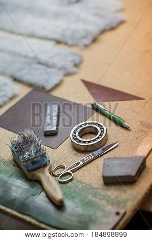 Sewing tools in the workshop process, background, work, industry,