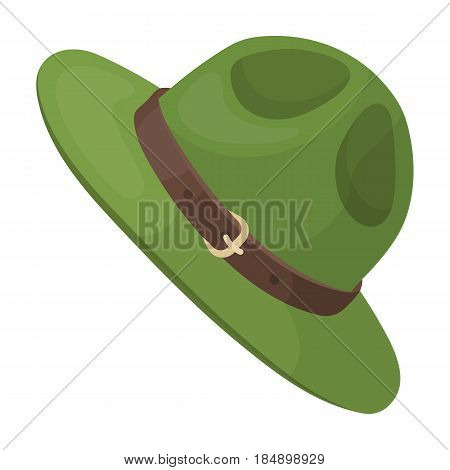 Green hat of a Canadian ranger. Canada single icon in cartoon style