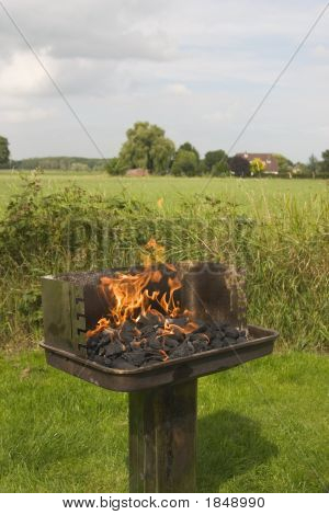 Barbecue Fire In The Field