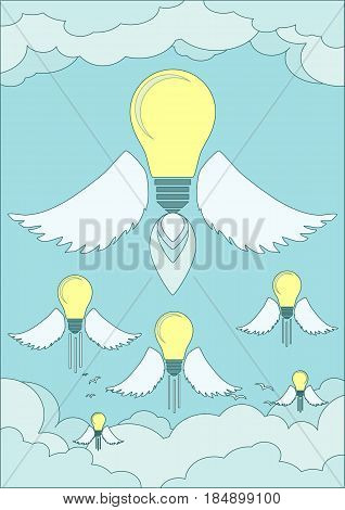 bright idea light bulb concept. Stock flat vector illustration.