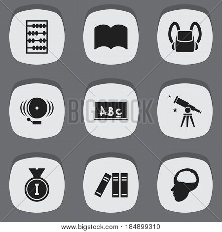 Set Of 9 Editable Education Icons. Includes Symbols Such As School Board, Dictionary, Arithmetic And More. Can Be Used For Web, Mobile, UI And Infographic Design.