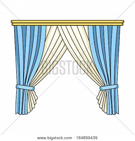 Curtains with drapery on the cornice. Curtains single icon in cartoon style