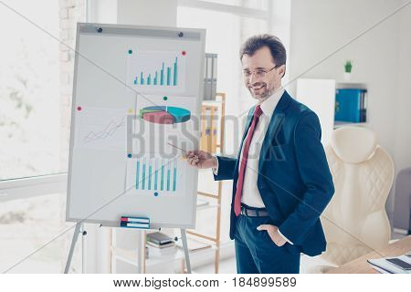 Smiling Successful Businessman Is Reporting With The Flip Chart In Office. He Is In Blue Suit, Glass