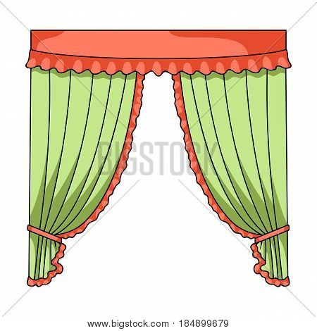 Curtains with drapery on the cornice. Curtains single icon in cartoon style  illustration .