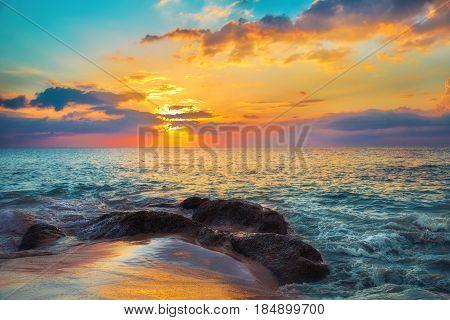 Rocks at the Naithon sea beach. Thailand Phuket