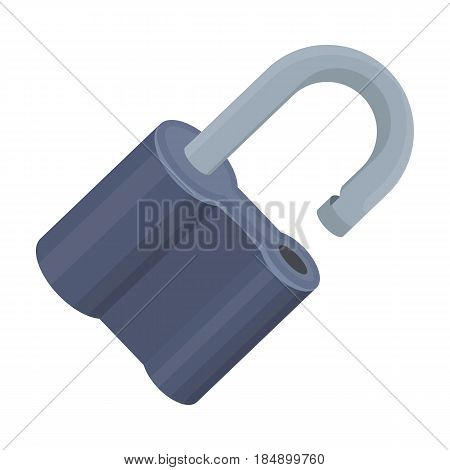 Padlock hacked. The challenge for the Pathfinder to solve the crime. Detective single icon in cartoon style illustration.