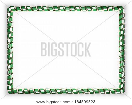 Frame and border of ribbon with the Nigeria flag edging from the golden rope. 3d illustration