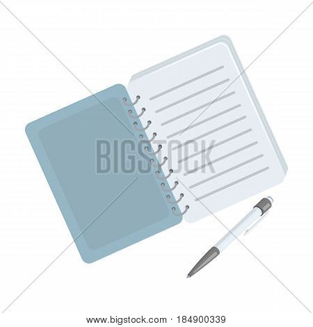 Notepad to record readings, to solve the crime. Detective single icon in cartoon style illustration.