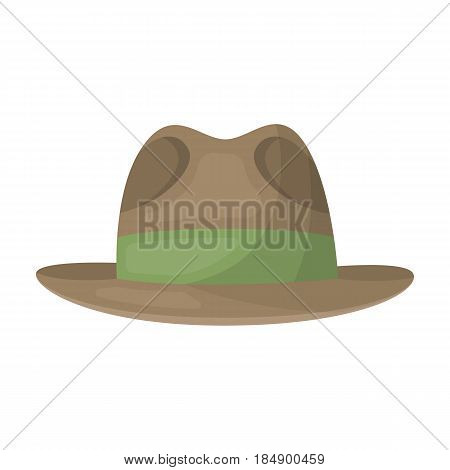 Brown hat with a brim for investigator for cover. Detective single icon in cartoon style