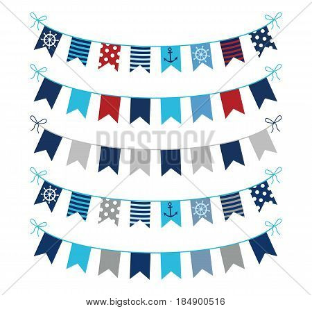 Set of nautical themed vector bunting garlands in blue red and grey colors for greeting cards invitations and scrapbooking designs