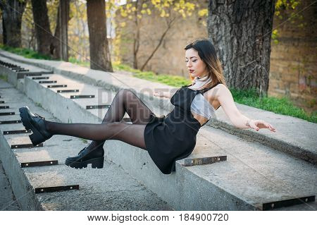 Fashion Pretty Woman Model Wearing A Balck Sarafan