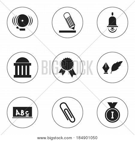 Set Of 9 Editable Education Icons. Includes Symbols Such As First Place, Literature, School Board And More. Can Be Used For Web, Mobile, UI And Infographic Design.