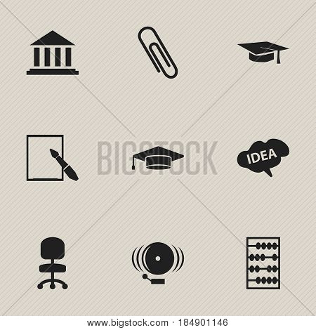 Set Of 9 Editable Graduation Icons. Includes Symbols Such As Graduate, Arithmetic, Mind And More. Can Be Used For Web, Mobile, UI And Infographic Design.