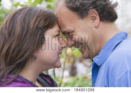 Chilean couple looking at one another
