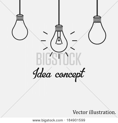 Idea concept. light bulb. Bulbs icon. Business Vector illustration.