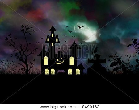 Halloween night scene with haunting castle and spooky creatures