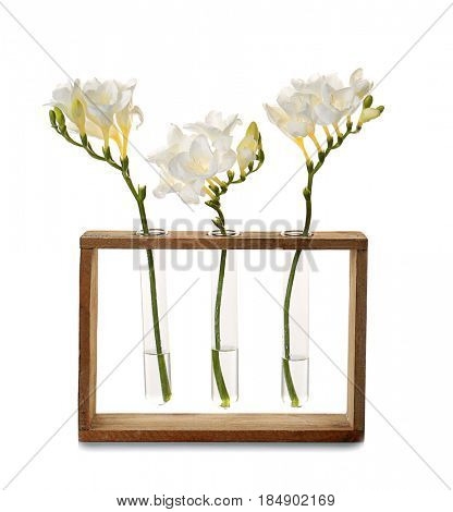 Vases with beautiful freesia flowers on white background