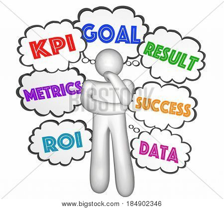 KPI Key Performance Indicator Thought Clouds Thinker Goals 3d Illustration