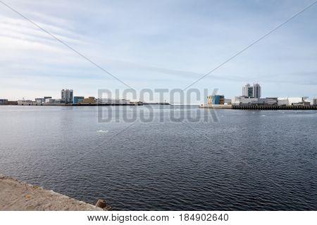 Dam Panorama In St. Petersburg In Autumn Evening