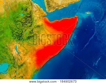 Somalia On Physical Map