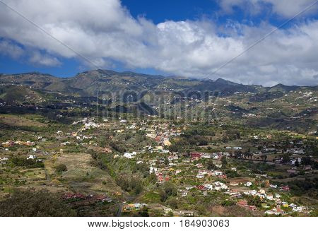 Inland Gran Canaria April view into densely populated Barranco de Guiniguada