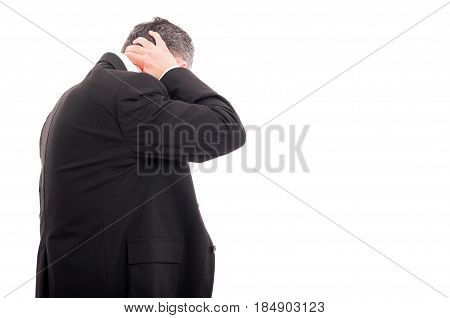 Businessman With Headache In Back View