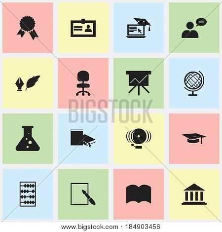 Set Of 16 Editable Science Icons. Includes Symbols Such As Bookmark, Distance Learning, Work Seat And More. Can Be Used For Web, Mobile, UI And Infographic Design.