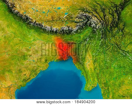 Bangladesh On Physical Map Image Photo Bigstock