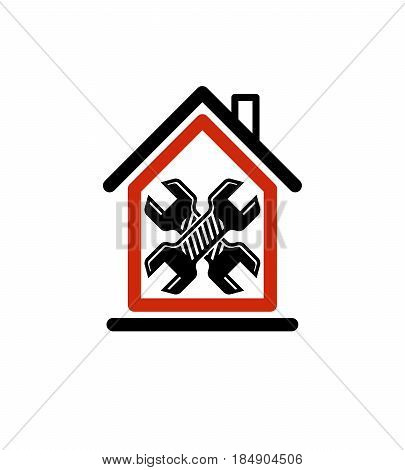 Two Spanners Crossed, Manufacturing Theme, Workshop Symbol. A Simple House With Work Tools, Wrenches