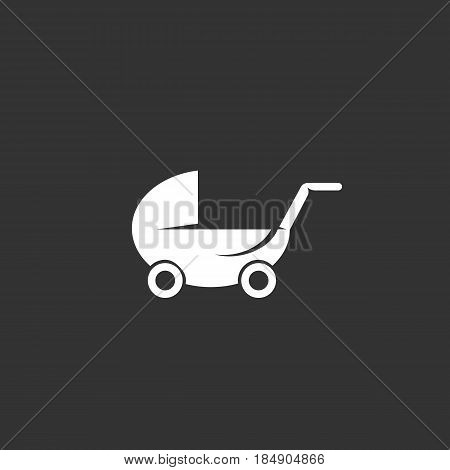 Buggy vector logo isolated on a black background. Icon silhouette design template. Simple symbol concept in flat style. Abstract sign pictogram for web mobile and infographics