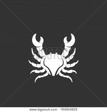 Crab vector logo isolated on a black background. Sea animal icon silhouette design template. Simple symbol concept in flat style. Abstract sign pictogram for web mobile and infographics