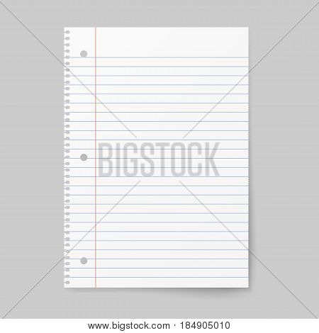 Notebook paper with lines isolated on background. Vector illustration.