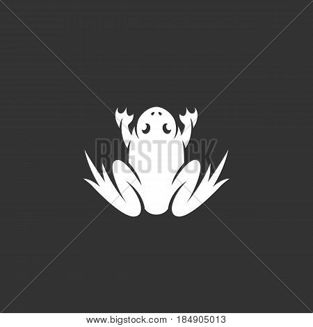 Frog vector logo isolated on a black background. Animal icon silhouette design template. Simple symbol concept in flat style. Abstract sign pictogram for web mobile and infographics