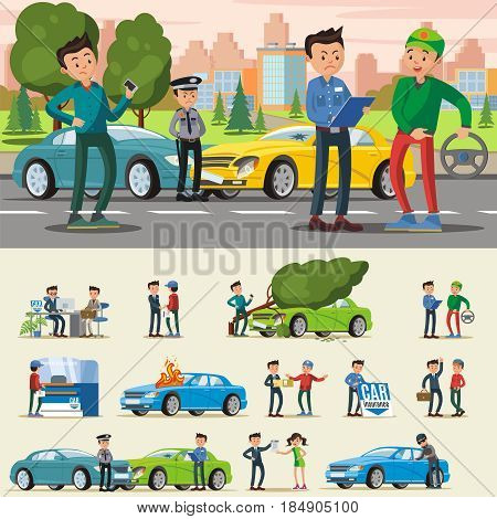 Car insurance composition with people in different situations and various cases of vehicle damage isolated vector illustration