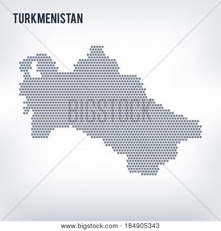 Vector Hexagon Map Of Turkmenistan On A Gray Background