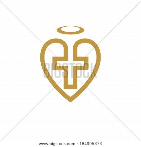 God Christian Love conceptual logo design combined with Christian Cross and heart vector creative symbol.