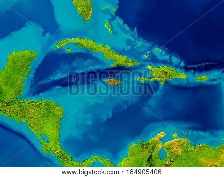Jamaica On Physical Map